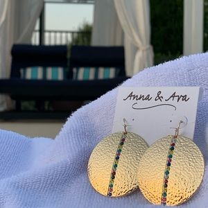 Anna & Ava Hammered Gold & Crystals Discs Earrings